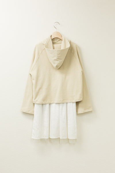 SLASH-SLEEVE COMBINATION HOODED DRESS