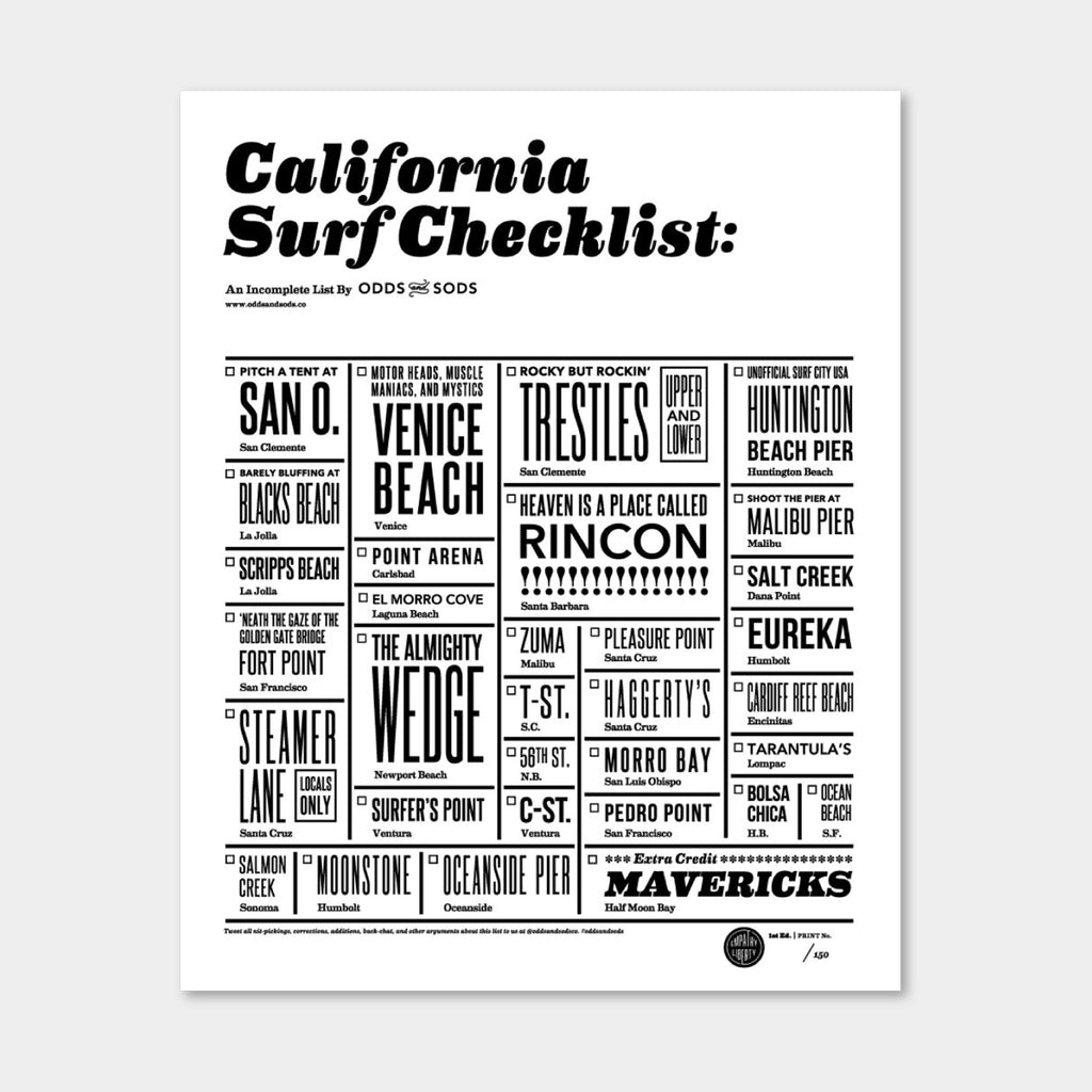 California Surf Checklist