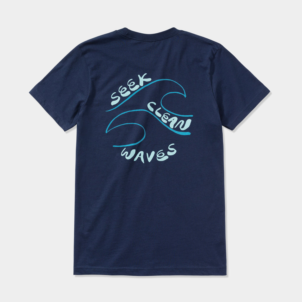 Seek Clean Waves Tee | Navy