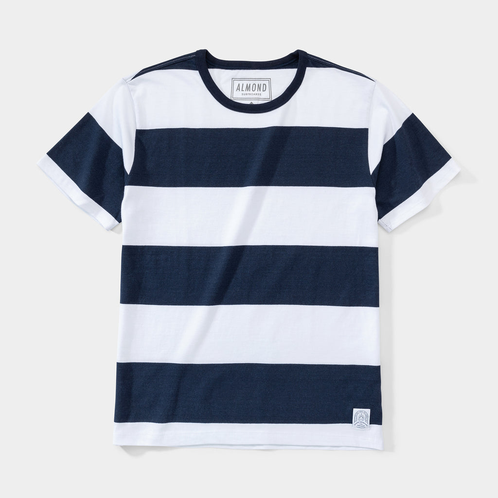 Almond x Surfrider Stripe Tee | Navy