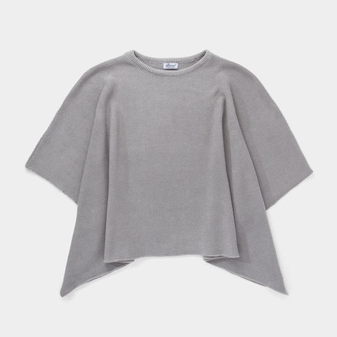 Women's Knitted Poncho // Grey