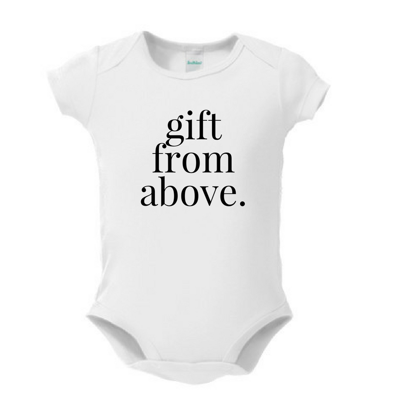 compliment baby. (unisex. 3 months-3T, 10 phrases to choose from)