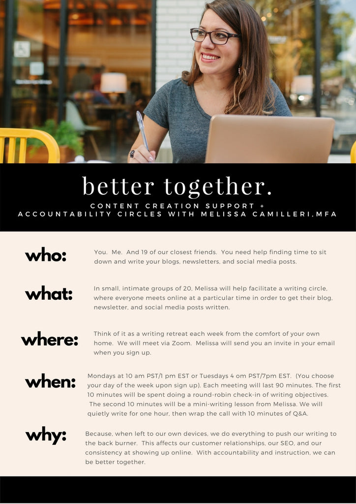 better together: weekly content creation support + accountability