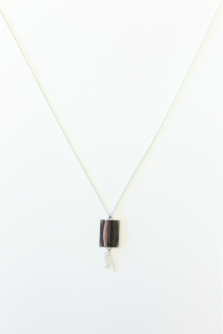 silver lining long necklace.