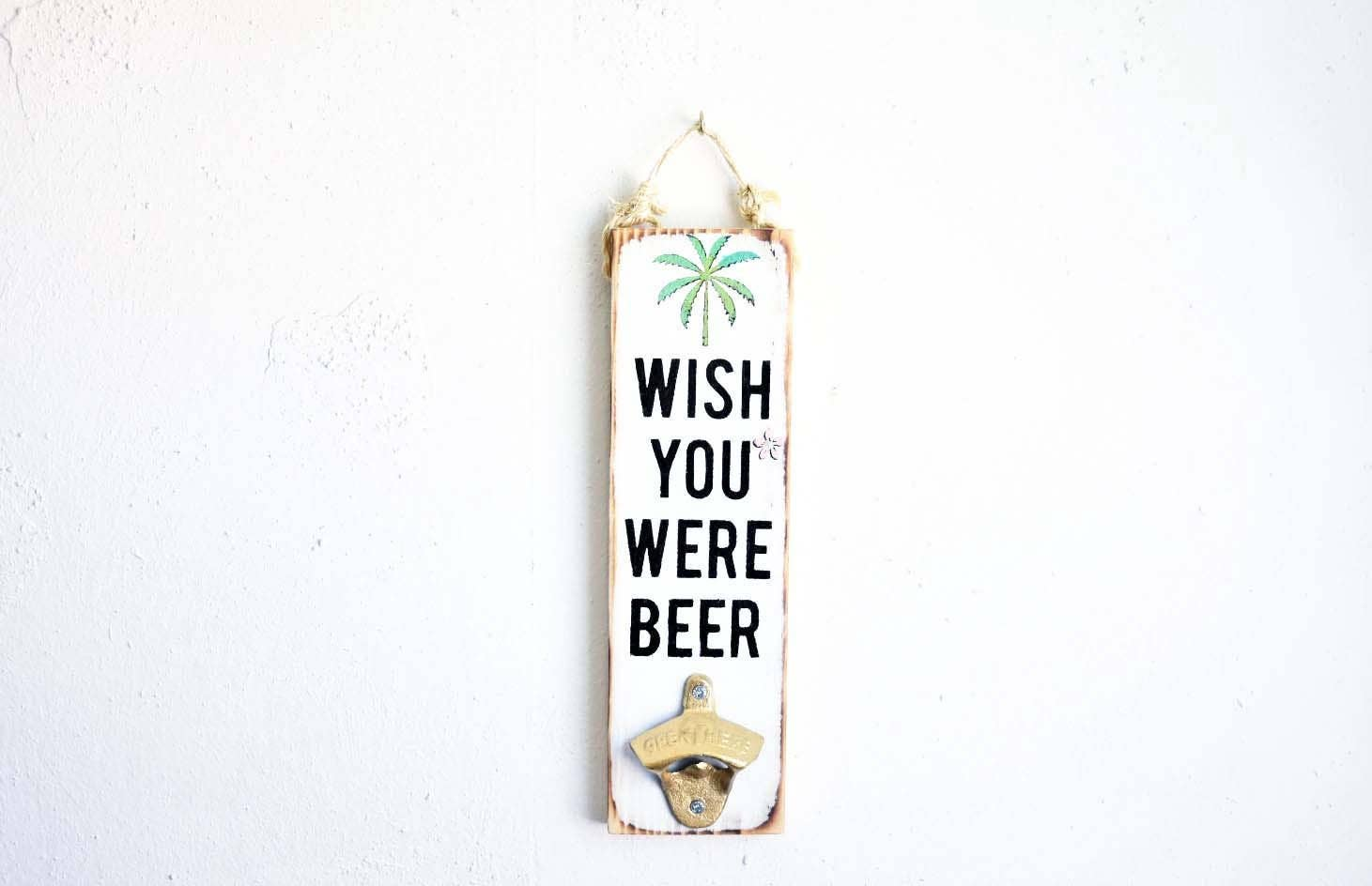 3 x 12 Wish You Were Beer Wood Sign