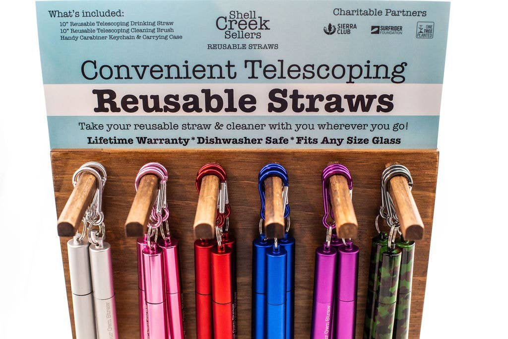 Telescoping Reusable Straw, Cleaning Brush & Carabiner- Camo