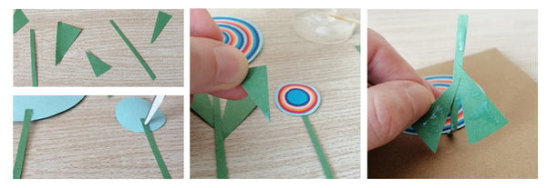 Thin strips of green paper and triangles of green paper to be used as stem and leaves.