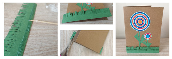 Toothpick spreading glue on the back of green paper grass from last step.