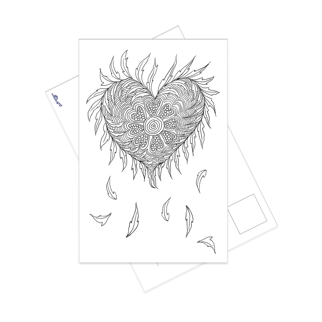 Autumn Folk Flower Heart colouring postcard