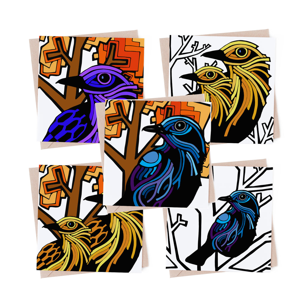 Autumn Winter Birds multipack 5 greeting cards