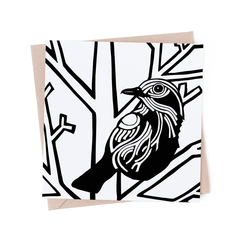 Bird in a Winter Tree colouring card