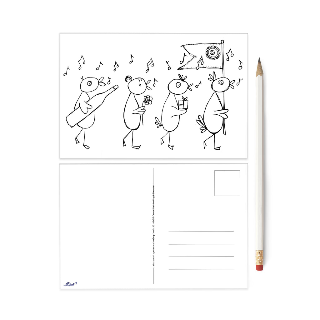 Birds Celebration colouring postcard