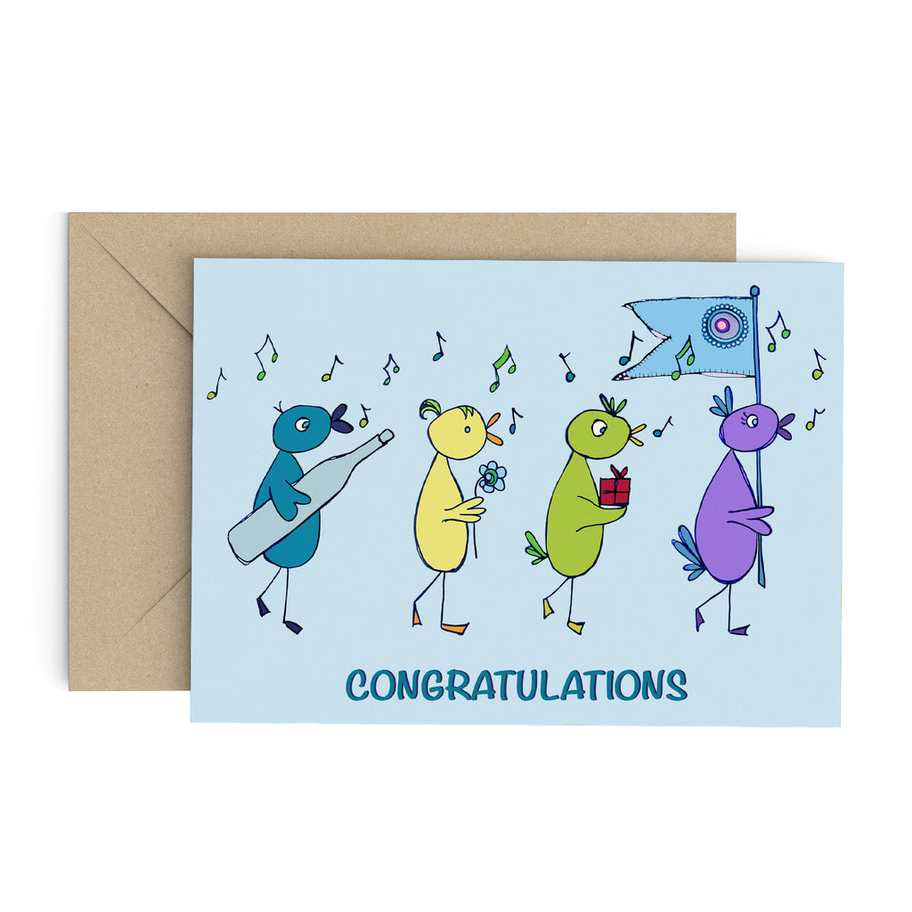 Light blue greeting card with whimsical birds carrying gifts and a blue flag, while chirping musical notes: Congratulations