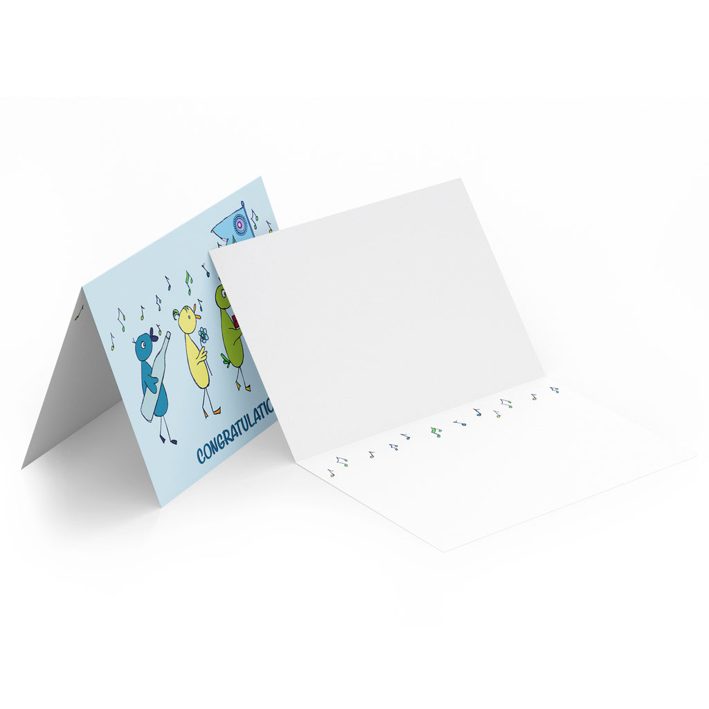 White inside of a landscape style greeting card with turquoise musical notes along the top.