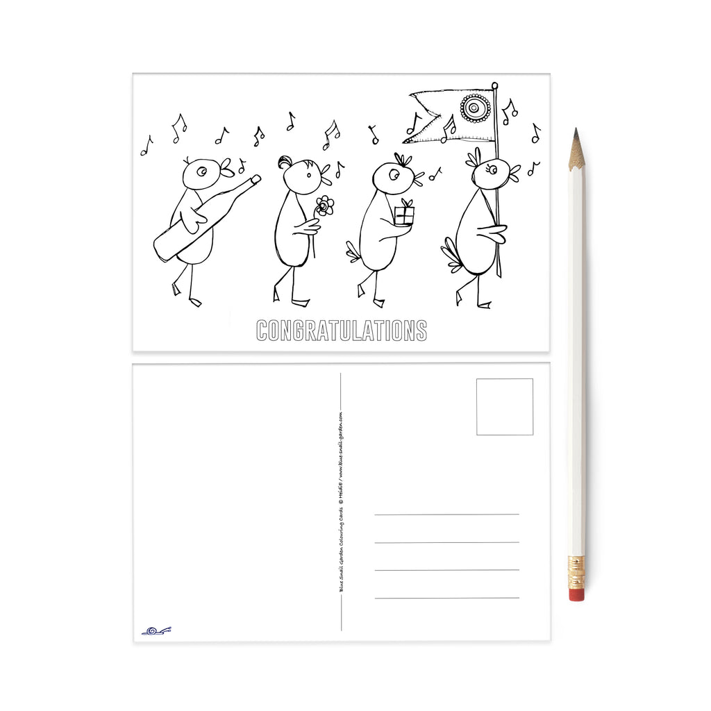 Birds Congratulations colouring postcard