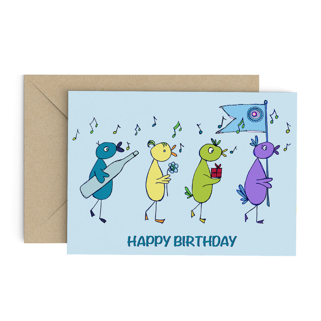 Light blue greeting card with whimsical birds carrying gifts and a blue flag, while chirping musical notes: Happy Birthday