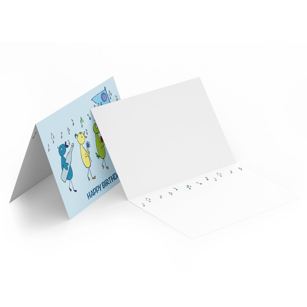 White inside of a landscape style greeting card with turquoise and green musical notes along the top.