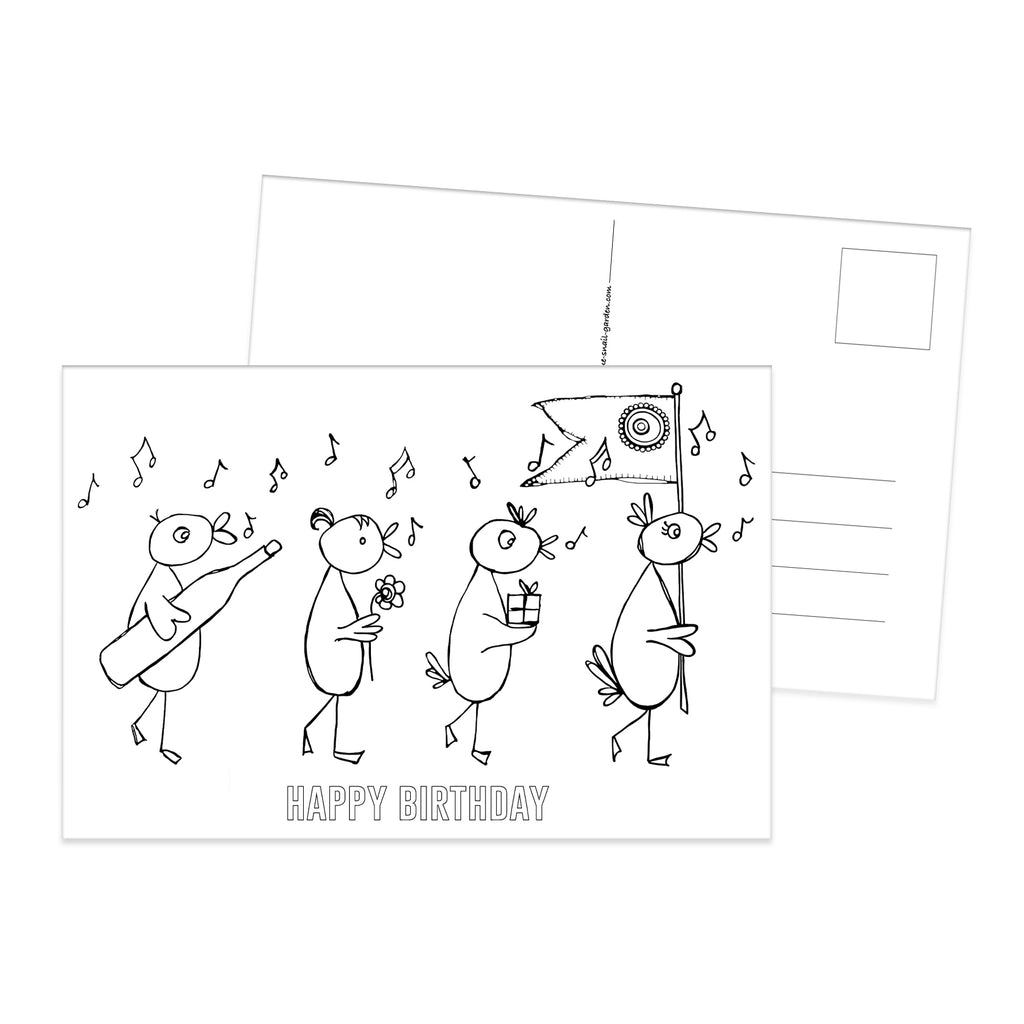 Birds Happy Birthday colouring postcard