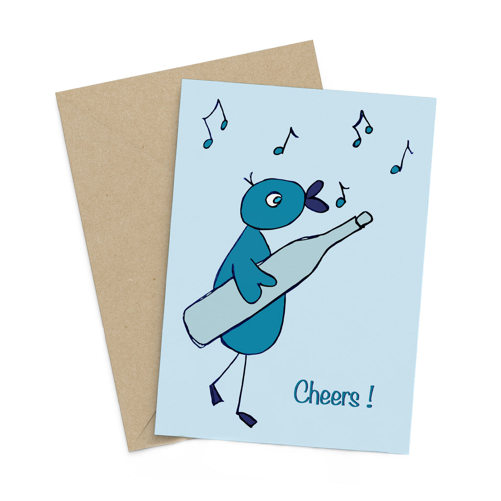 Light blue greeting card with a whimsical turquoise bird carrying a giant bottle while chirping musical notes: Cheers!