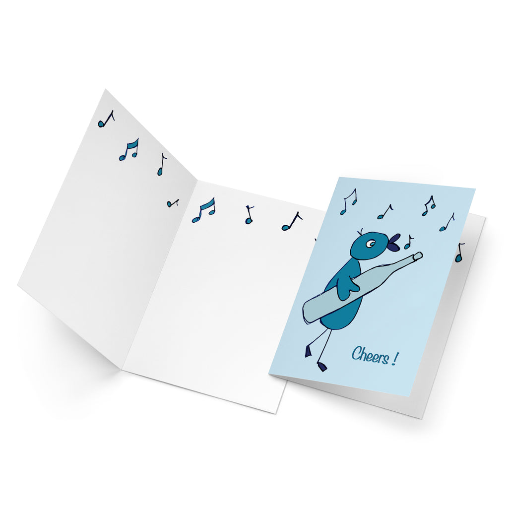 White inside of a portrait style greeting card with a row of turquoise musical notes along the top.
