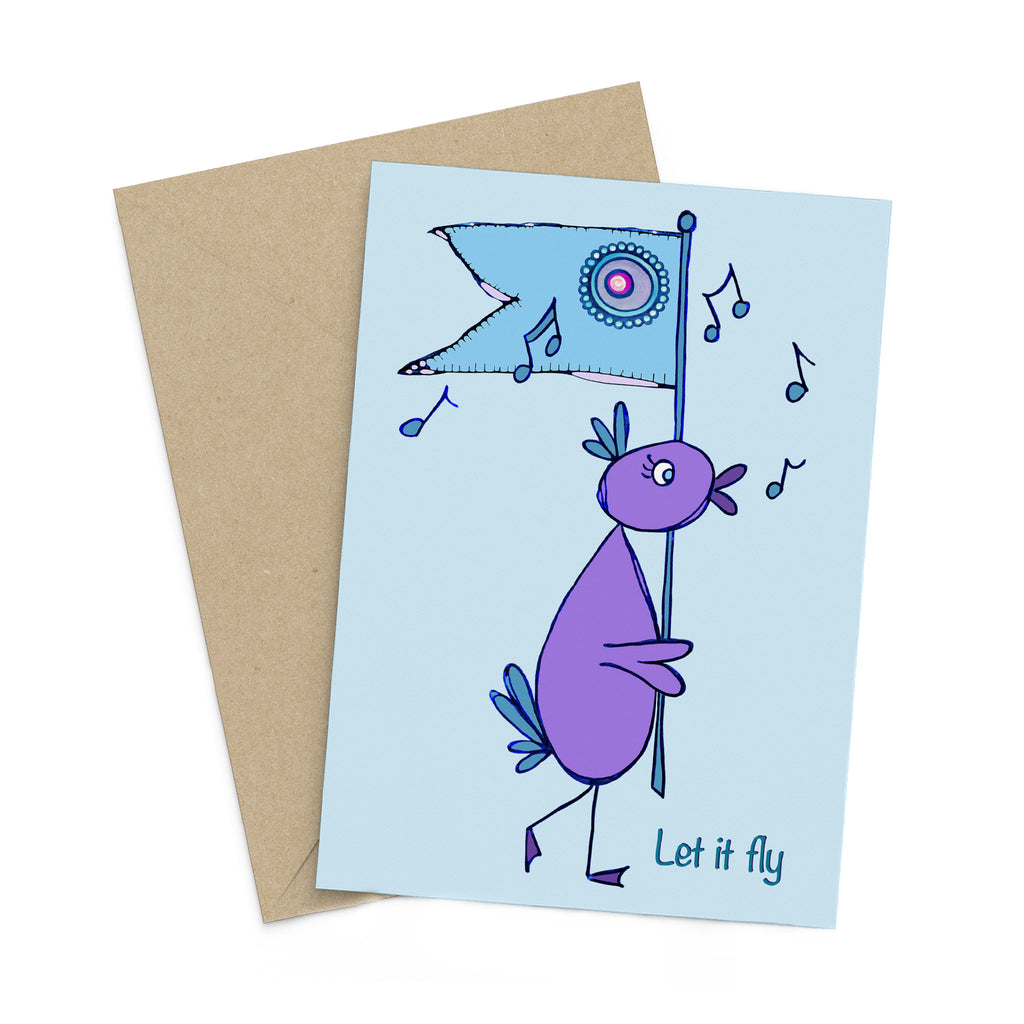 Light blue greeting card with a whimsical purple bird carrying a blue flag while chirping musical notes: Let it fly