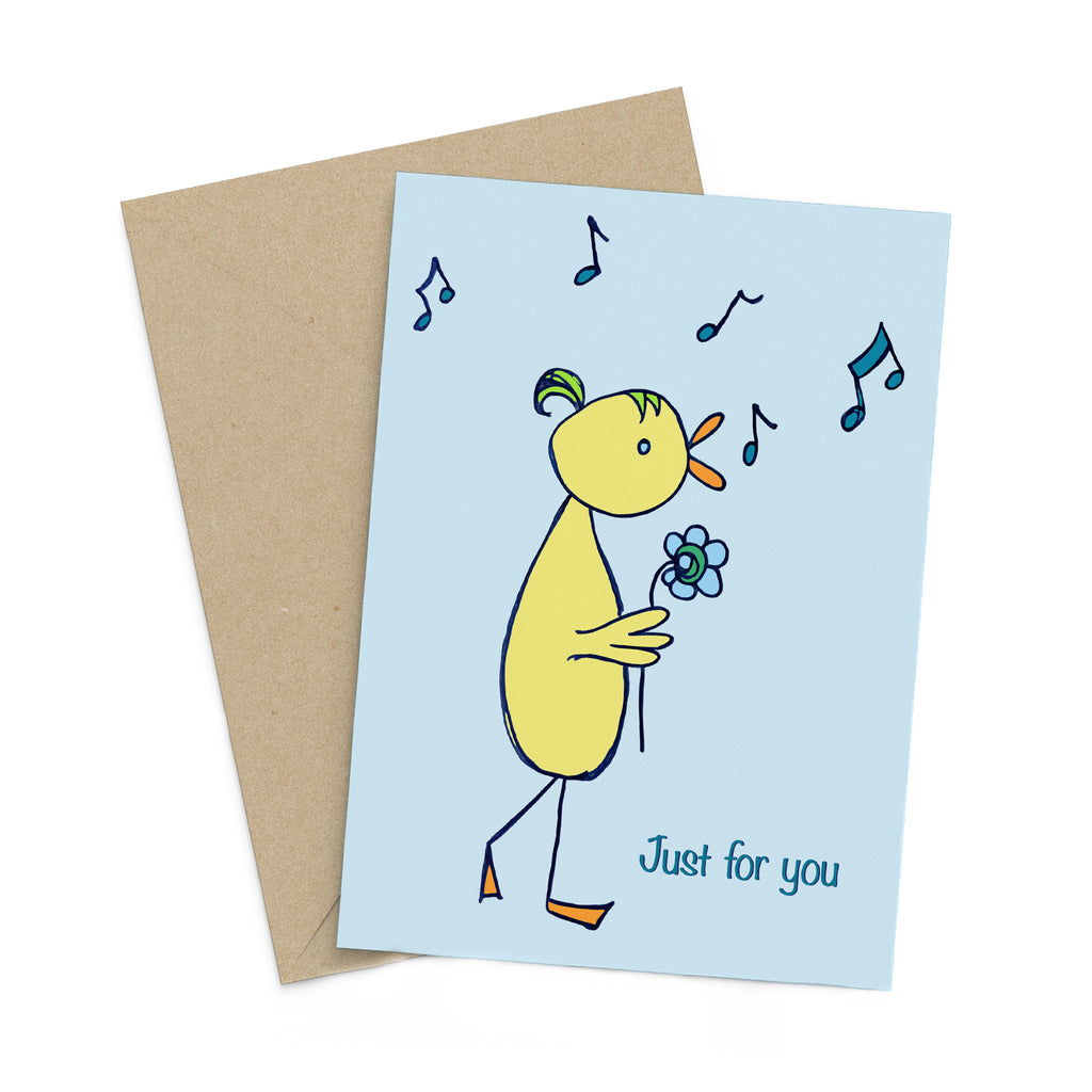 Light blue greeting card with a whimsical yellow bird carrying a flower while chirping musical notes: Just for you