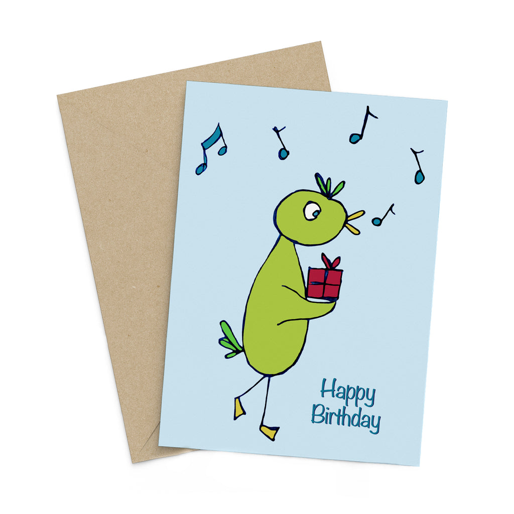 Light blue greeting card with a whimsical green bird carrying a gift box while chirping musical notes: Happy Birthday