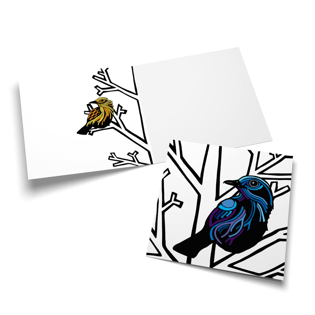 Inside of a square card with a yellow, stylized bird perched in a bare, white winter tree on the left side.