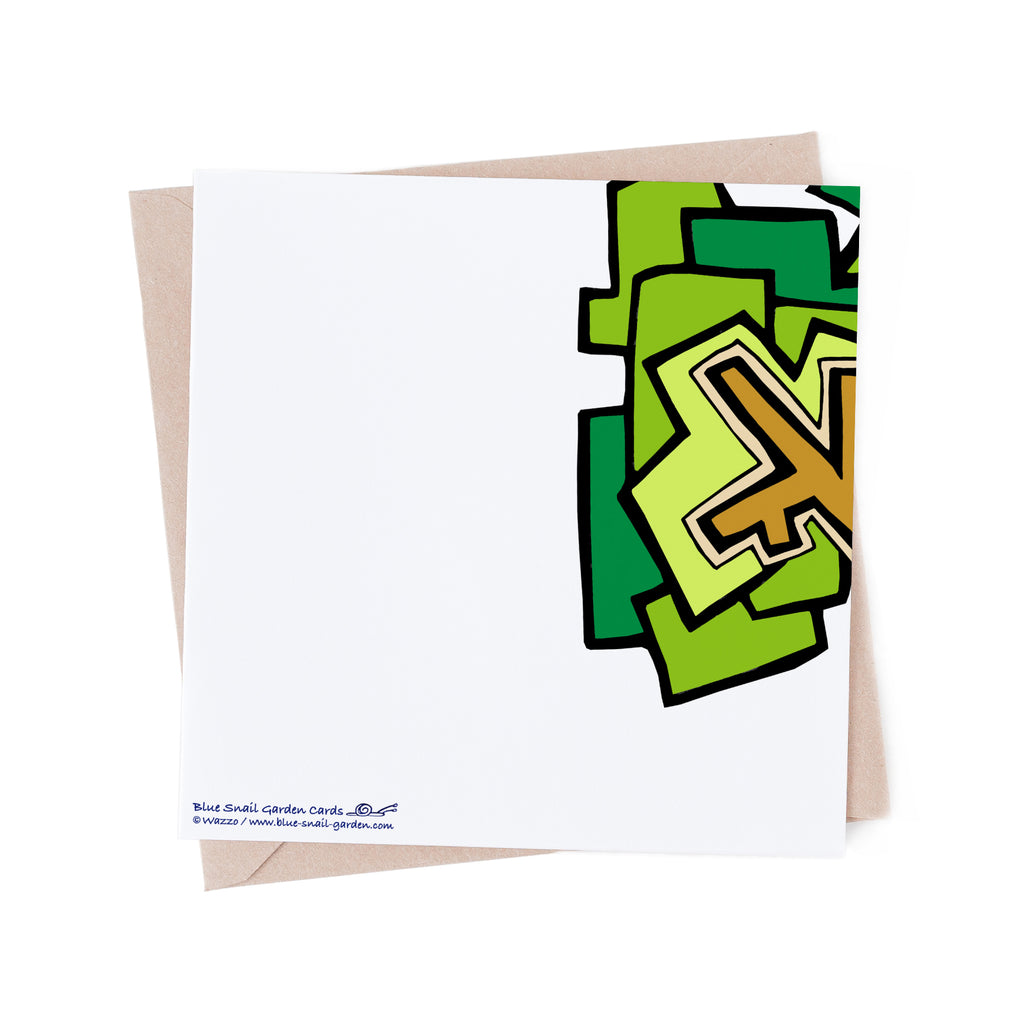 Back of square, white greeting card with a green tree branch overlapping from the front of the card. Copyright Wazzo
