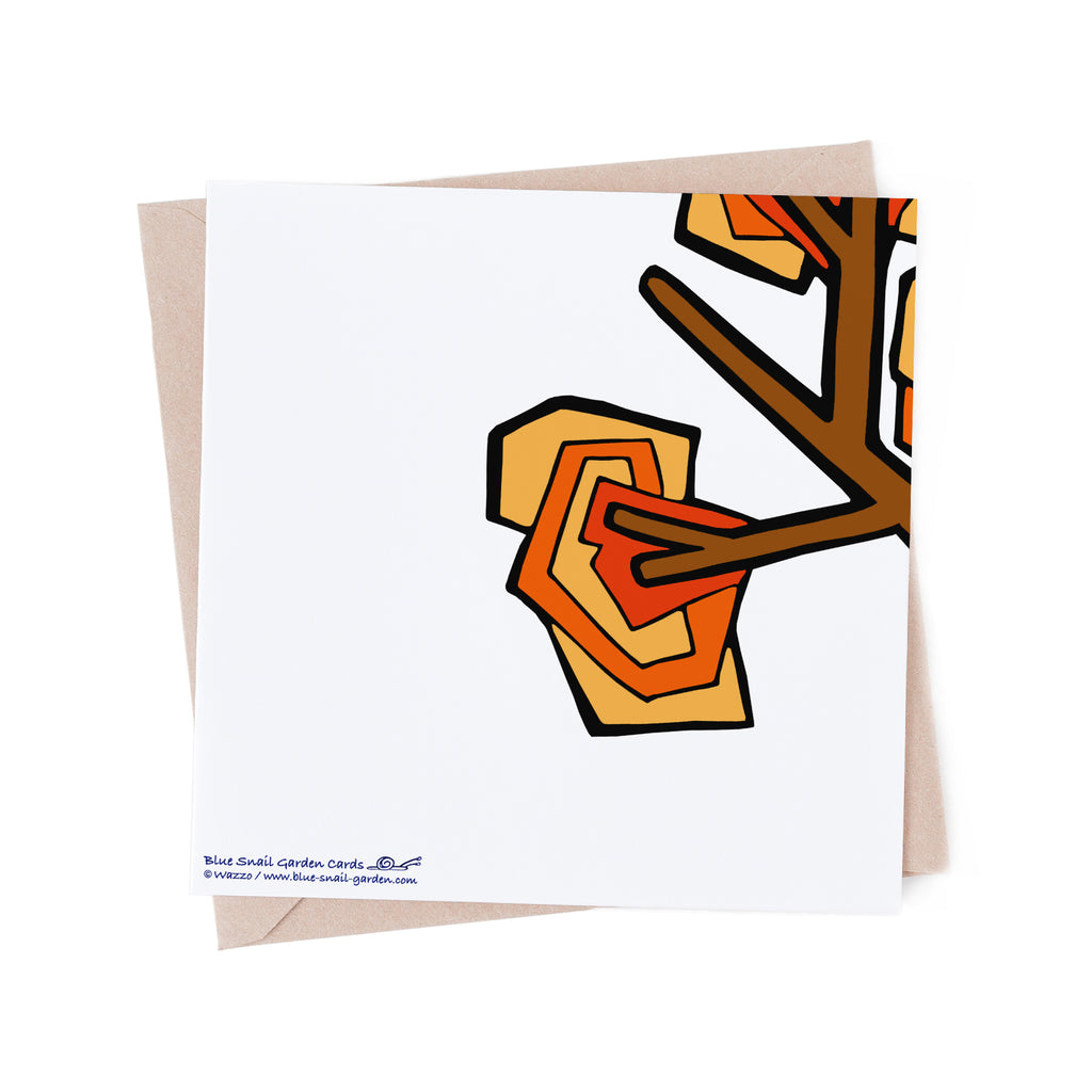 Back of square, white greeting card with an orange tree branch overlapping from the front of the card. Copyright Wazzo
