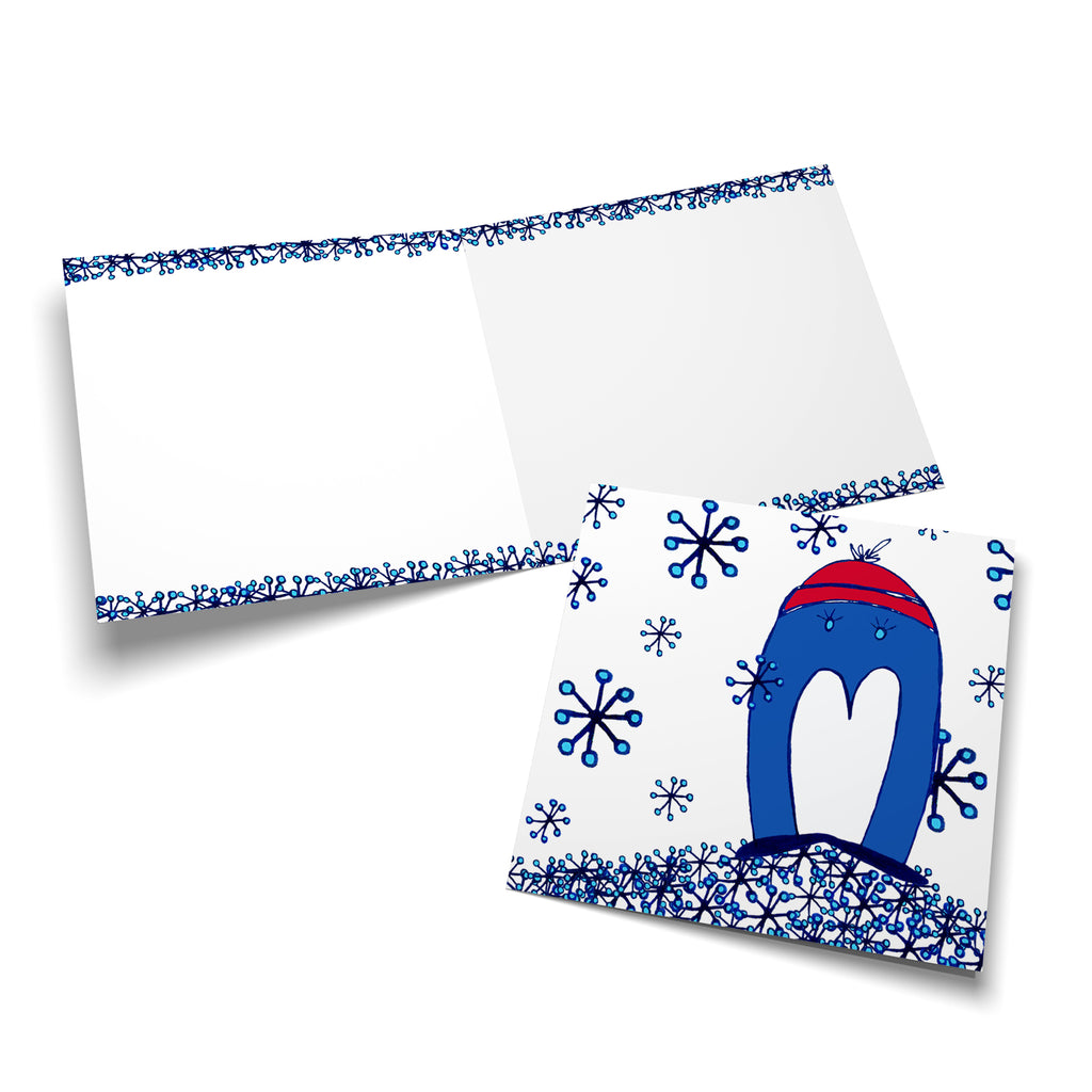 White inside of a square style greeting card with snowflakes along the top and the bottom.