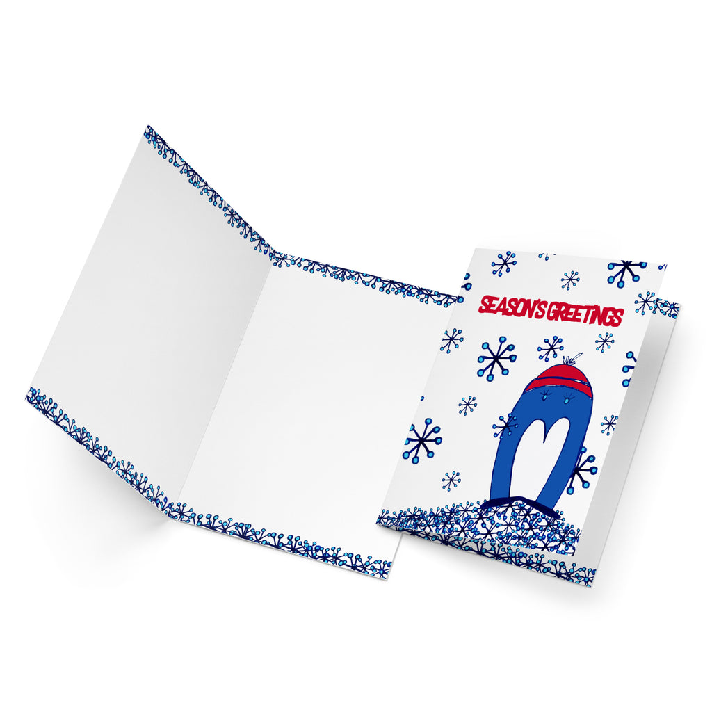 White inside of a portrait style greeting card with snowflakes along the top and the bottom.