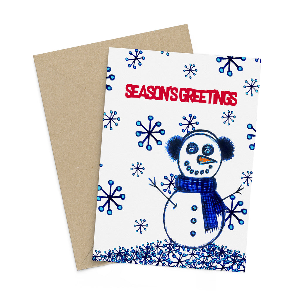Snowman in the Snow season's greetings card