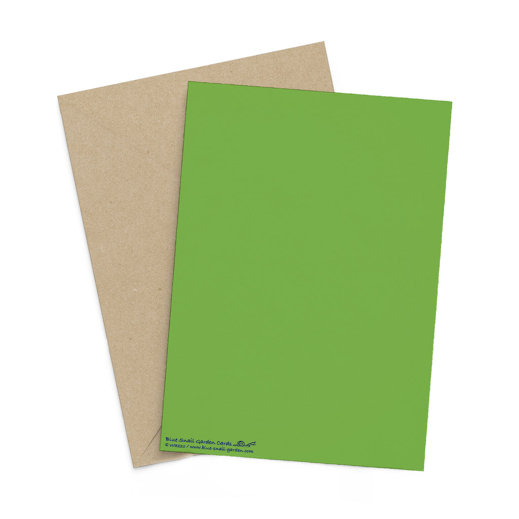 Back of portrait style, green greeting card with a brown envelope in the background. Copyright Wazzo.