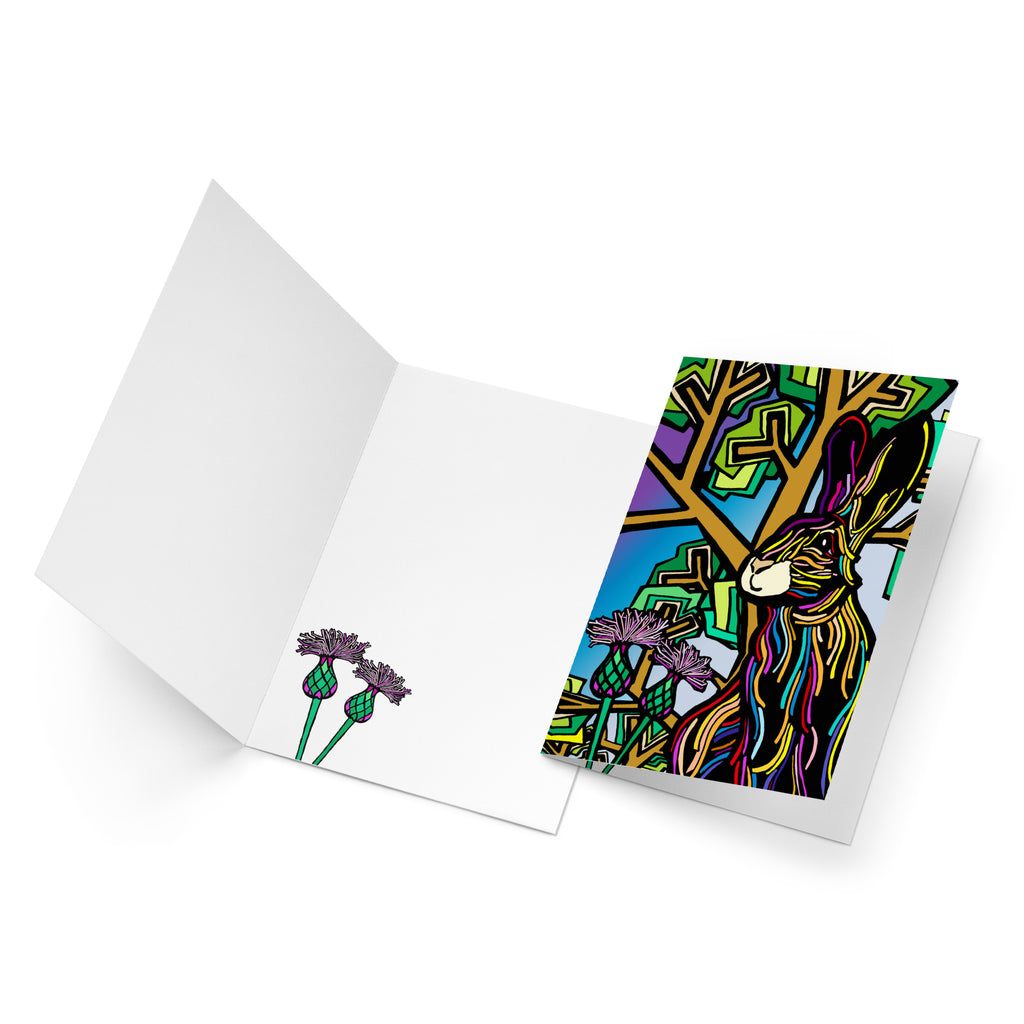 White inside of a portrait style greeting card with two green and purple flowers at the bottom.