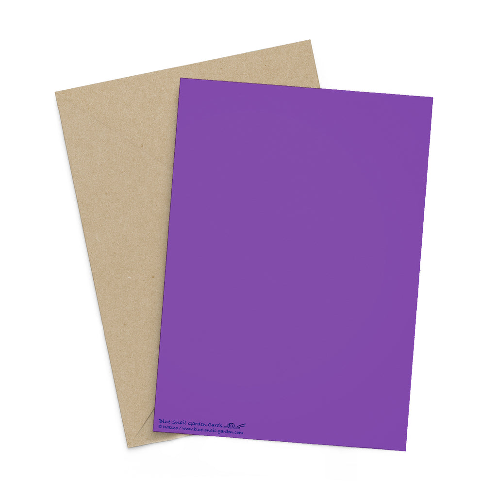 Back of portrait style, purple greeting card with a brown envelope in the background. Copyright Wazzo.