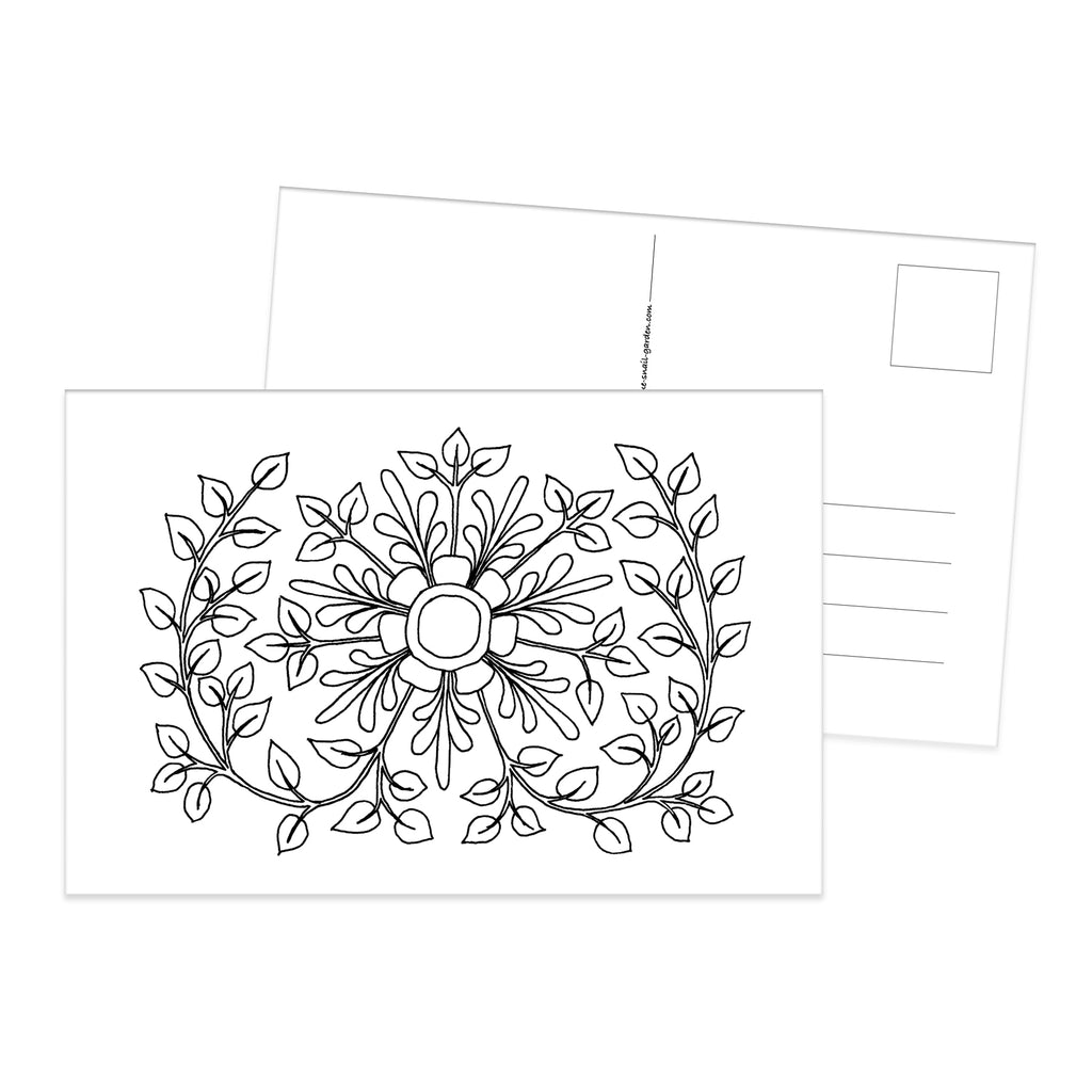 Folk Flower colouring postcard