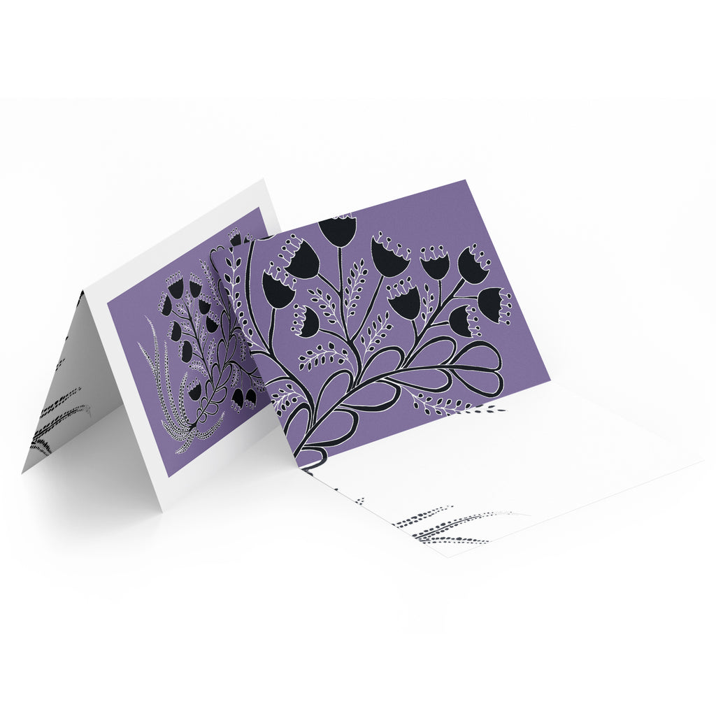 White inside of a landscape style greeting card. Top half of the card has black bell flowers on a purple background.