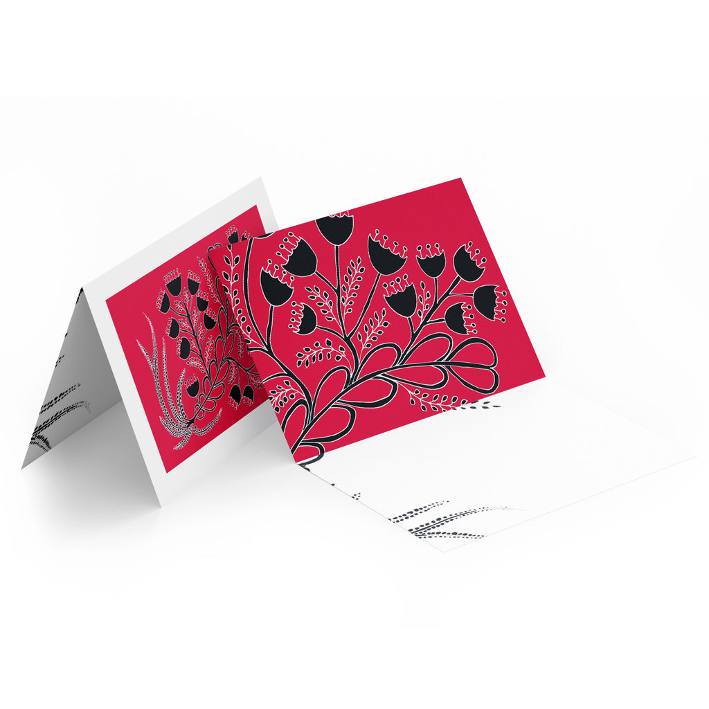 White inside of a landscape style greeting card. Top half of the card has black bell flowers on a red background.