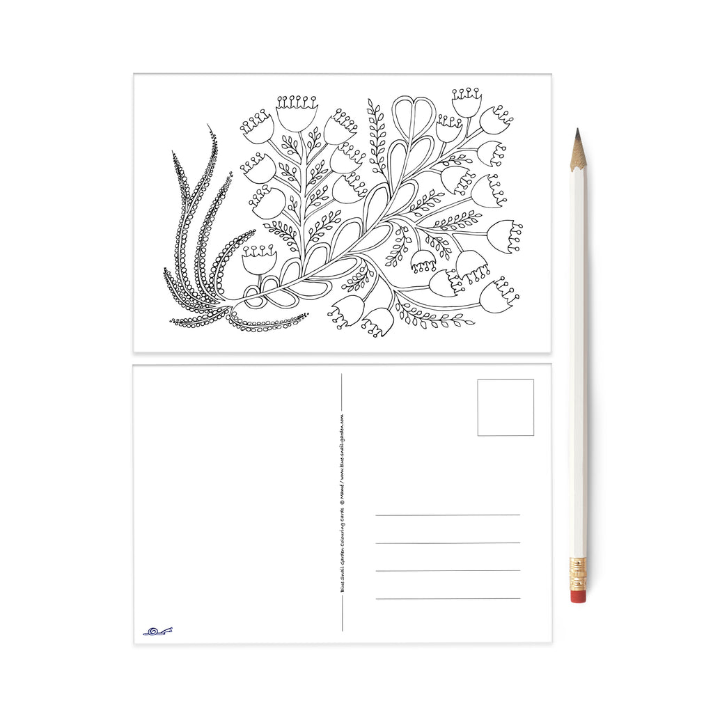 Folksy Bell Flower Bouquet colouring card