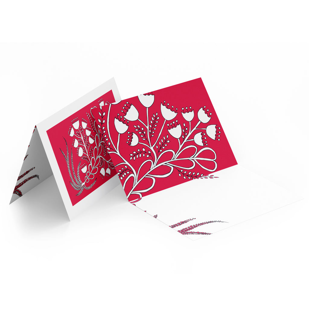 White inside of a landscape style greeting card. Top half of the card has white bell flowers on a red background.