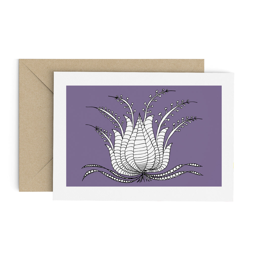 Drawing of a white succulent-like plant on a purple greeting card with a white border. A brown envelope is in the background.