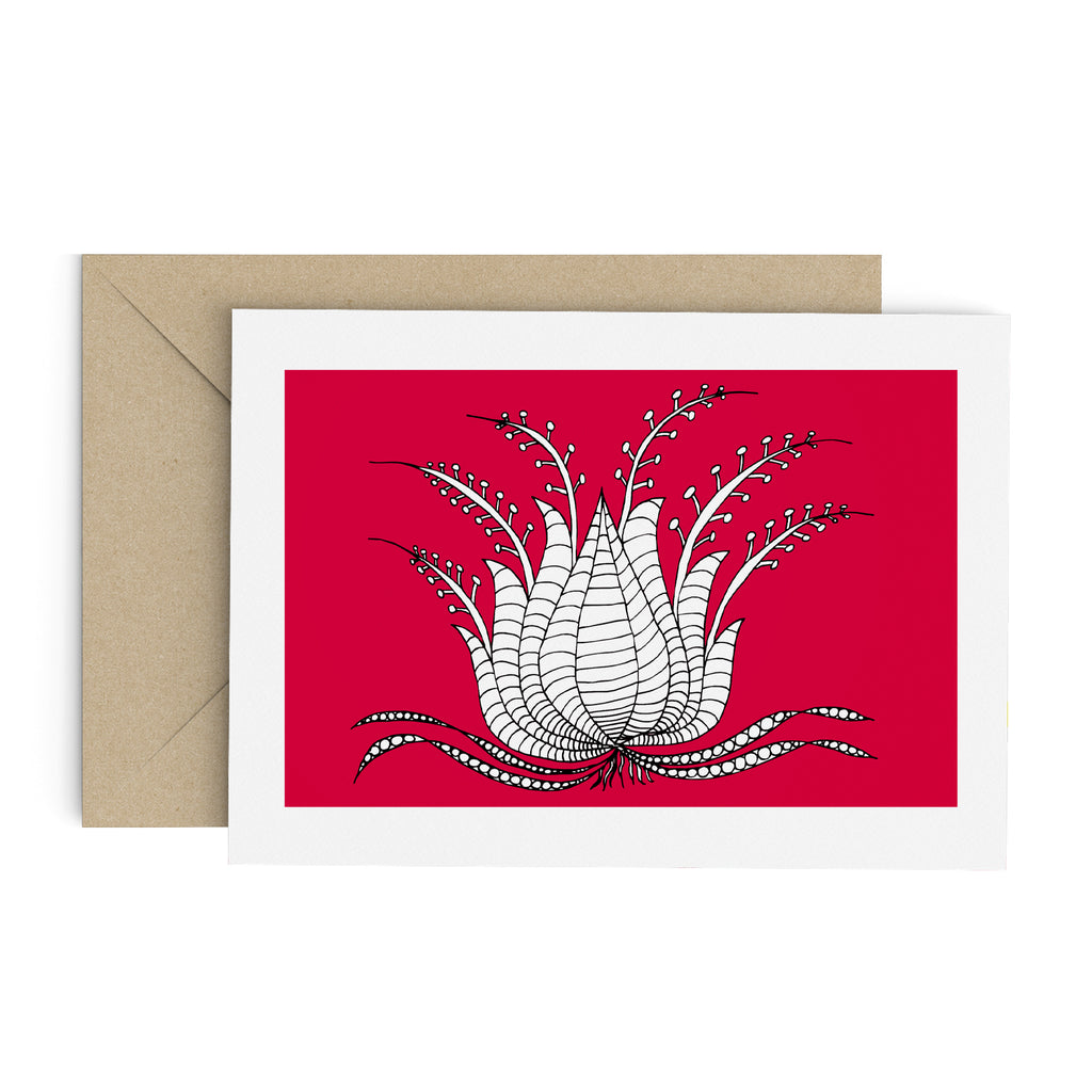 Drawing of a white succulent-like plant on a red greeting card with a white border. A brown envelope is in the background.