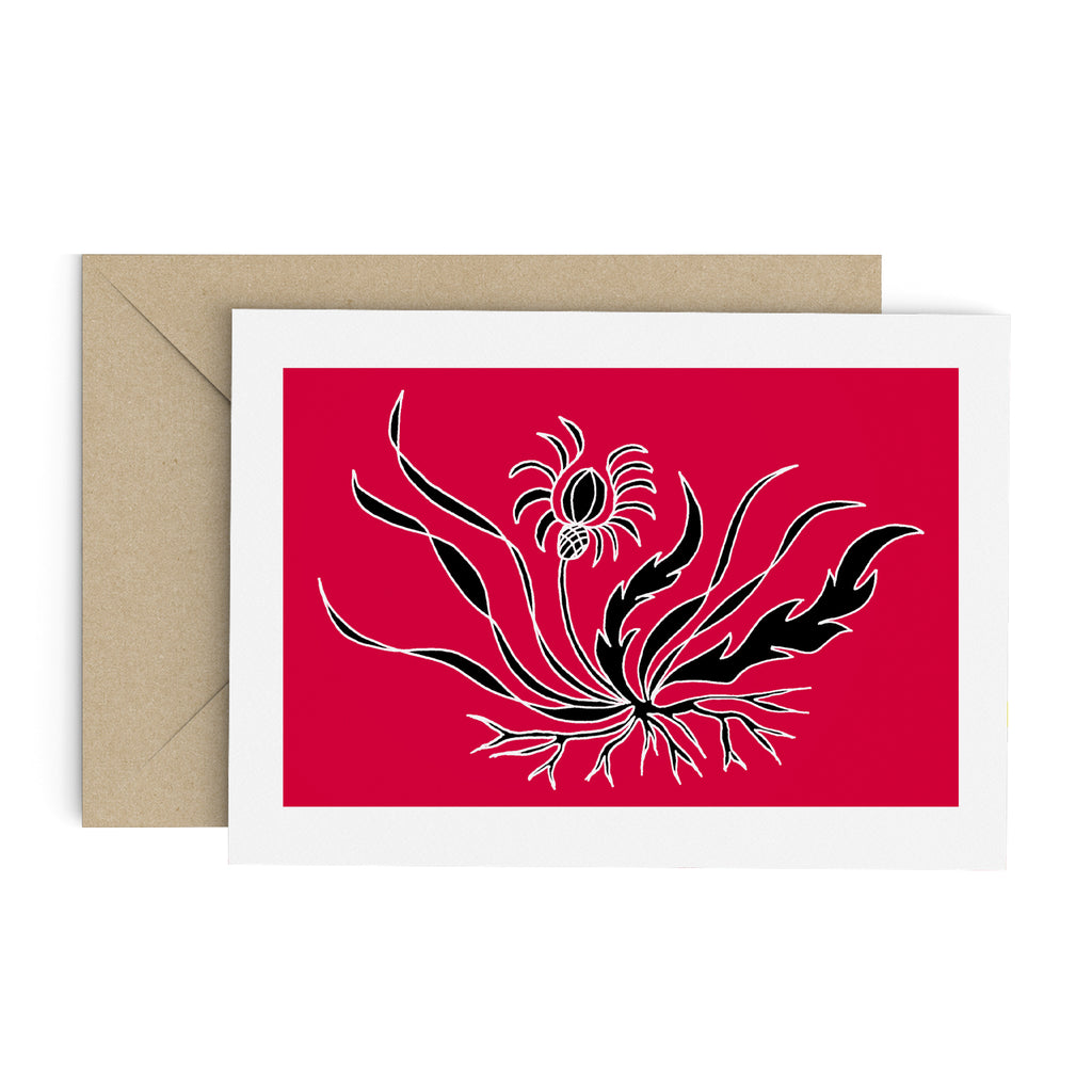 Drawing of a black flower with long, flowing leaves on a red card with a white border. A Brown envelope is in the background