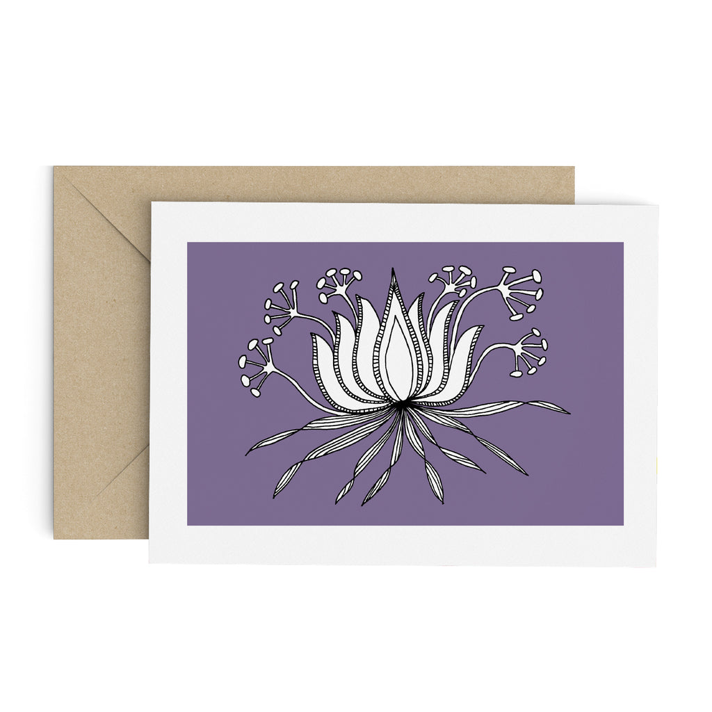 Drawing of a succulent-like plant with seed pods on a purple card with a white border. A brown envelope is in the background.