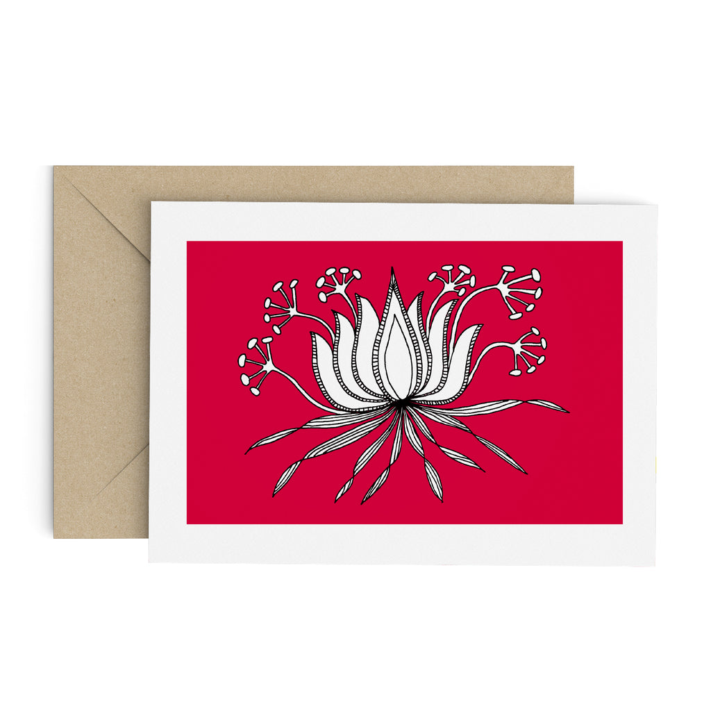 Drawing of a succulent-like plant with seed pods on a red card with a white border. A brown envelope is in the background.