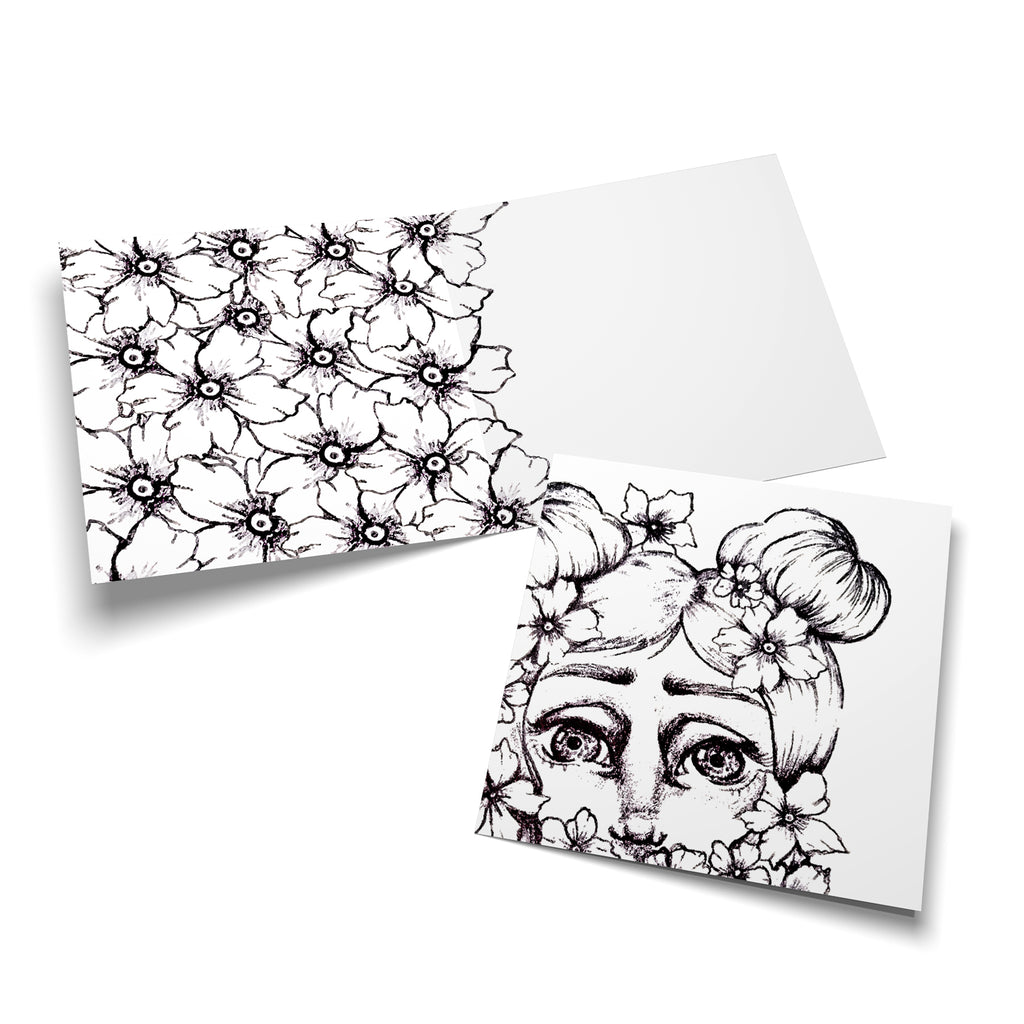 Miss Flower Girl colouring card