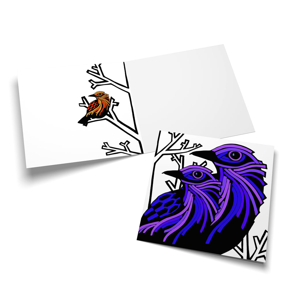 Inside of a square card with an orange, stylized bird perched in a bare, white winter tree on the left side.
