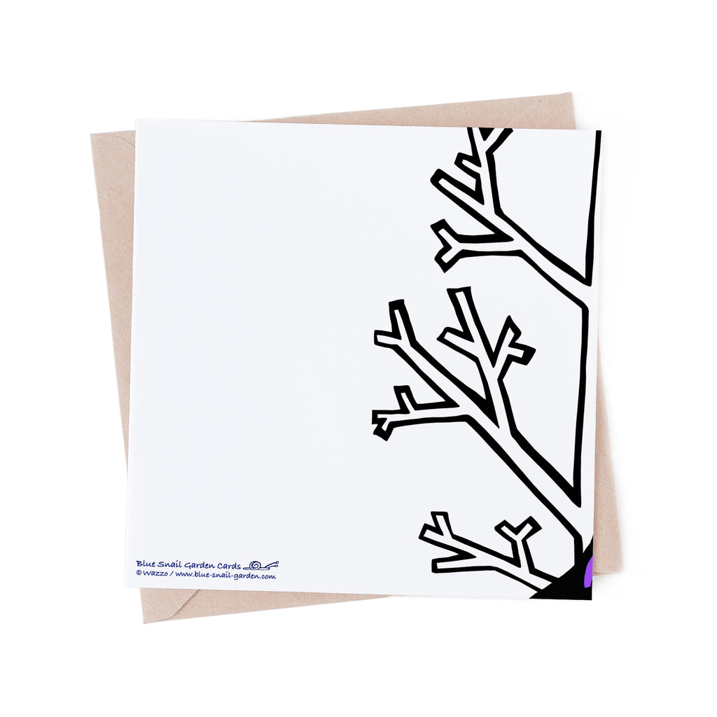 Back of square, white greeting card with bare, white tree branch overlapping from the front of the card. Copyright Wazzo