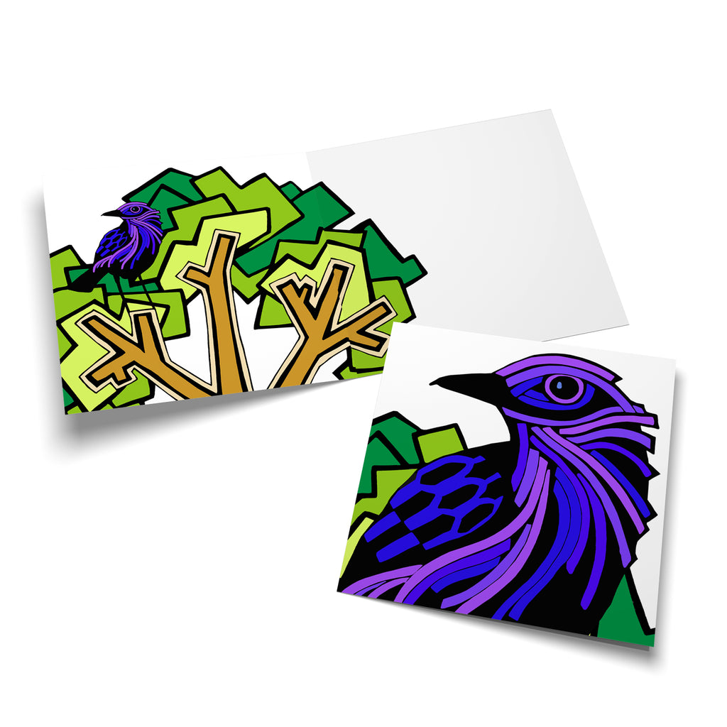 Inside of a square card with a green tree on the left, overlapping a bit onto the right. A purple bird is perched in the tree